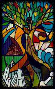 The Seeker - Stained Glass Window at Northeon Forest. Crafted as a Group Project by the Northeon Forest Toronto Group in 1991.